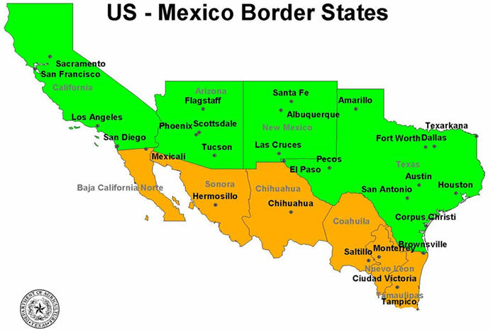 USMexico Border Map  Institute For Defence Studies And